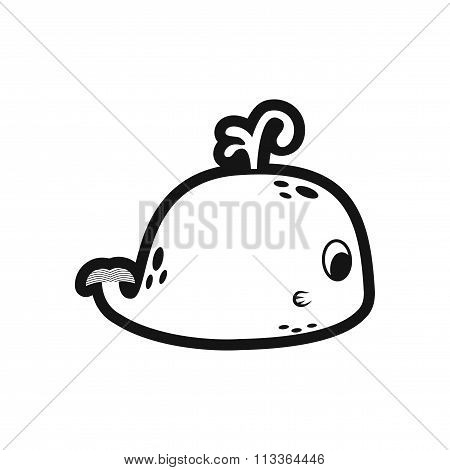 stylish black and white icon whale with fountain