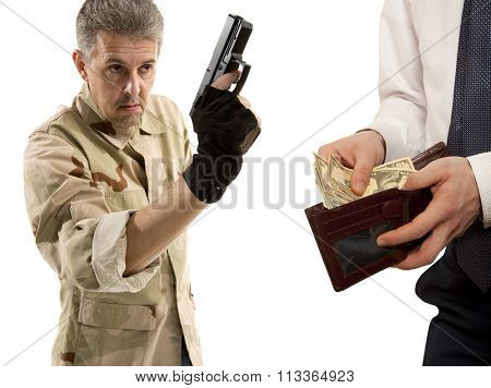 Robbery by businessman isolated on white background