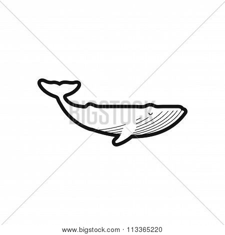 stylish black and white icon great whale