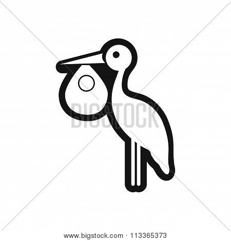 stylish black and white icon stork and baby