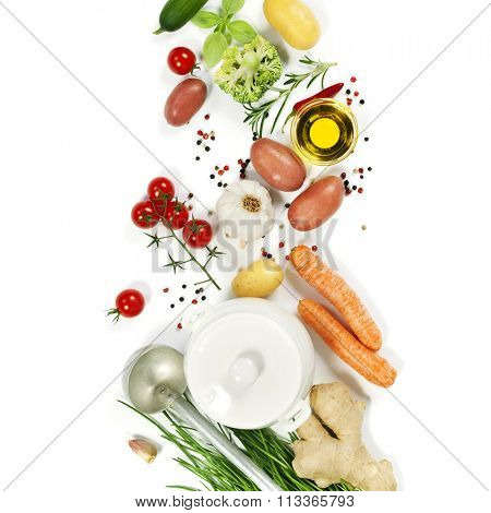 Ingredients for soup.Top view.  Bio Healthy food. Organic vegetables.