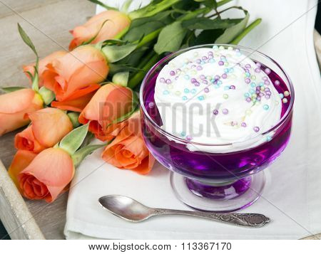 jelly with whipped cream