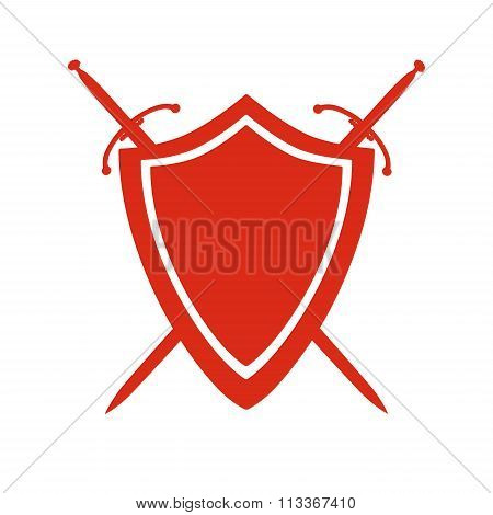 Red Icon Of Shield And Two Crossed Swords Under It