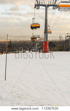 Departure Chairlift Above The Slope.