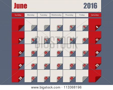 Gray Red Colored 2016 June Calendar