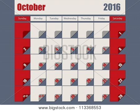 Gray Red Colored 2016 October Calendar