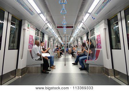 Passengers In The Train Mrt. Singapore Subway