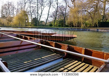 Punts on the River Cam, Cambridge in Winter