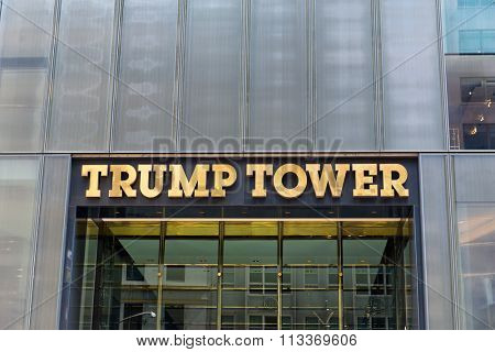 NEW YORK - SEPTEMBER 06: Front facade signage over the entrance on Trump Tower, New York a mixed use skyscraper in Manhattan. September 06, 2015 in New York.