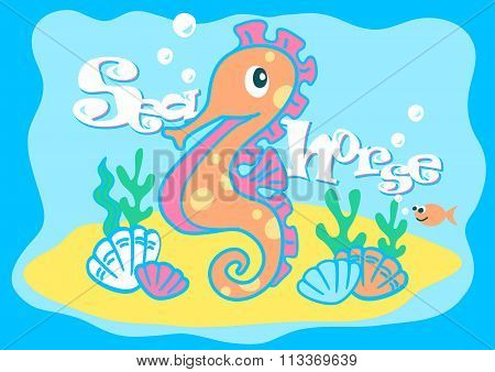 Baby Seahorse Swimming Under The Sea