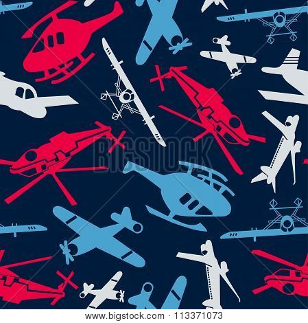 Planes And Helicopters In A Seamless Pattern
