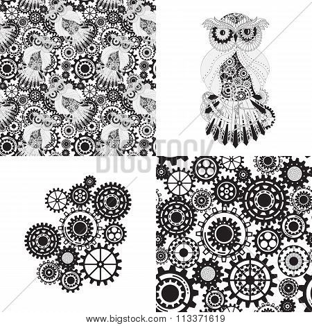 Black gears, steampunk seamless pattern. Steampunk outline vector owl with gear. Metallic steam punk