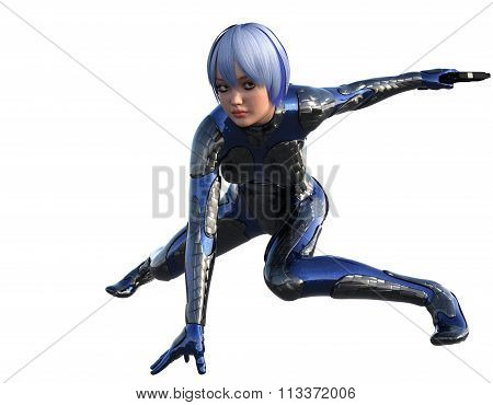 One young girl in futuristic armor with a pistol
