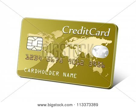 Embossed plastic payment card. Payment concept. Vector illustration