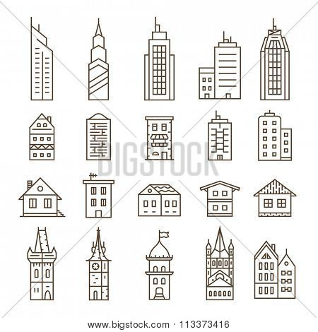 Building Icons Set. Vector illustration. Linear series