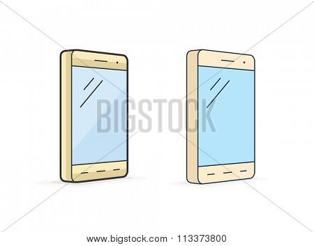Smart phone icon. Vector icon of smartphone in four different thickness. Linear style