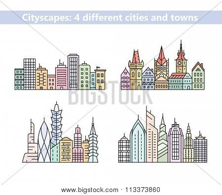 Linear cityscapes. Urban city and old town skyline and buildings. Vector illustration