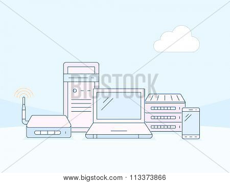 Wireles networks and devices. Cloud network connection. Vector outlined illustration in material design style. Linear style