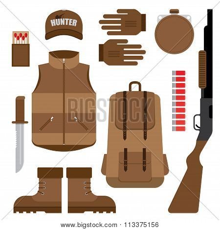 Set of Hunting, Objects Vector Design Elements