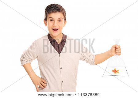 Cheerful little boy holding a goldfish in a plastic bag isolated on white background