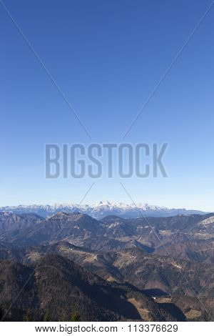 View of Mount Triglav in the Alps