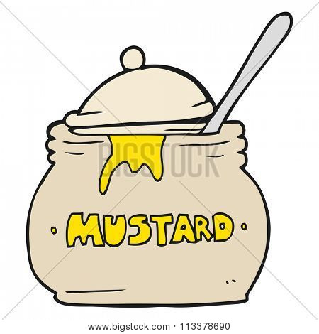 freehand drawn cartoon mustard pot