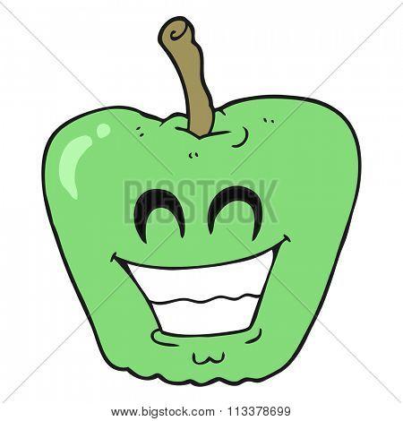 freehand drawn cartoon grinning apple
