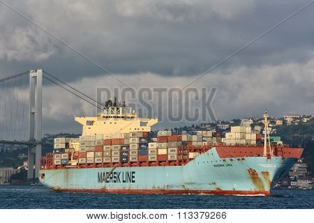 Maersk Line's container ship Maersk Lima passing through Bosphorus Straits, Istanbul, Turkey