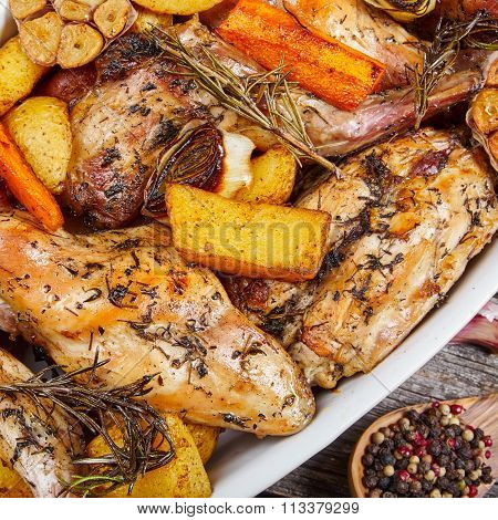 Roasted Rabbit With Herbs And Vegetables