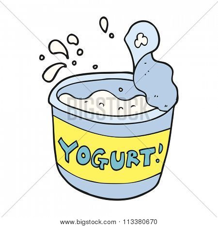 freehand drawn cartoon yogurt