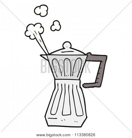 freehand drawn cartoon espresso stovetop maker