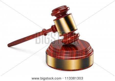Gavel and sound block over white background