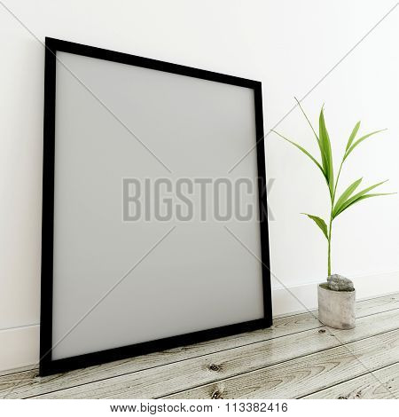 Home Decor Still Life - Empty Generic Picture Frame (Mockup) and Potted Plant Resting on Finished Hardwood Floor. 3d Rendering.
