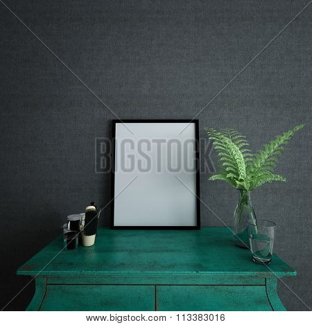 Blank picture frame with copy space on a green kist with an arrangement of fresh green fern leaves against a dark grey textured wall in square format, 3d render