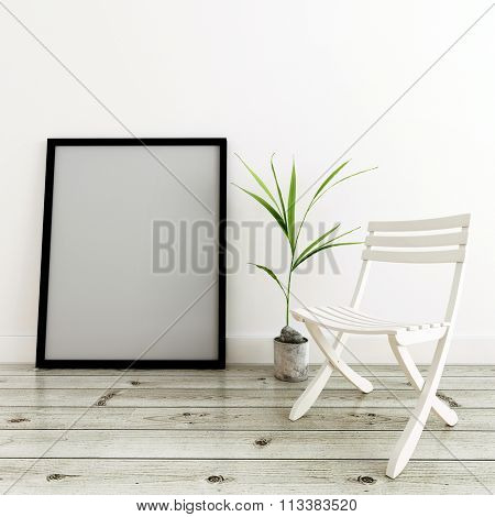Home Decor Still Life - Empty Generic Picture Frame (Mockup), Potted Plant and Simple White Folding Chair Resting on Finished Hardwood Floor. 3d Rendering.