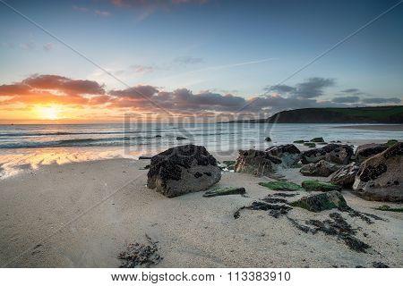 Stunning Sunrise Over The Cornish Coastline
