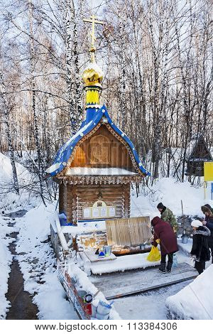 The Natural Source Of Fresh Drinking Water, A Holy Spring, A Place Of Pilgrimage Siberians