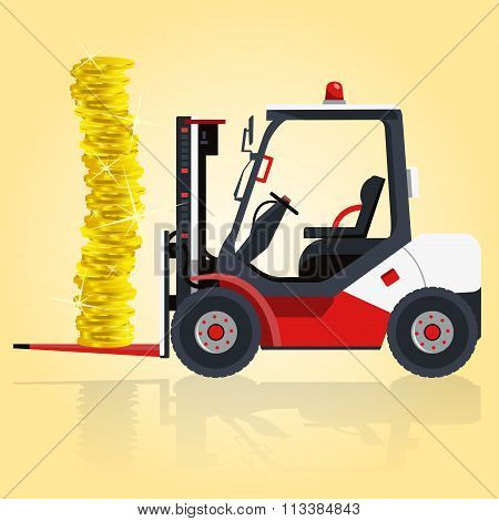 Red and white fork lift loader. Loading of golden coins.