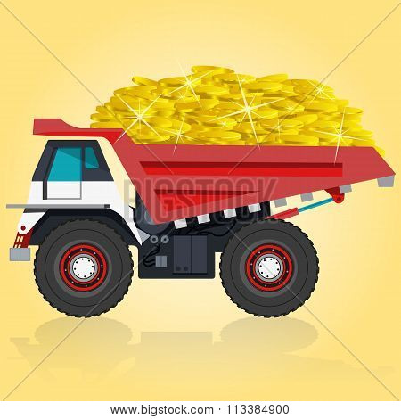 Red and white big truck builds roads. Taking of coins.