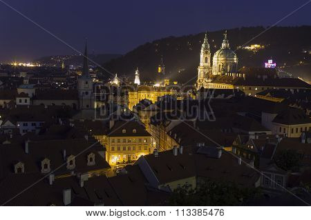 beautiful night ponarama of romantic Prague