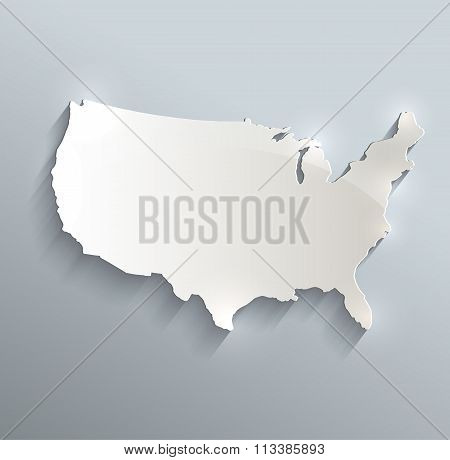 Usa Map Blue White Card Paper 3D Raster