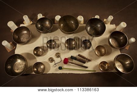 Set Of Tibetan Singing Bowls And Bells