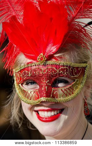 Beautiful Smiling Mask At Venice Carnival