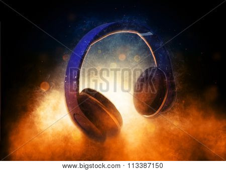 Close Up Still Life of Music Audio Headphones Lit Dramatically by Glowing Light from Below in Dark Studio - Music Concept Image. 3d Rendering.
