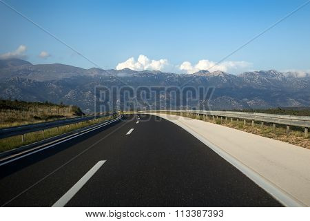 Modern Asphalt Highway In Mountains