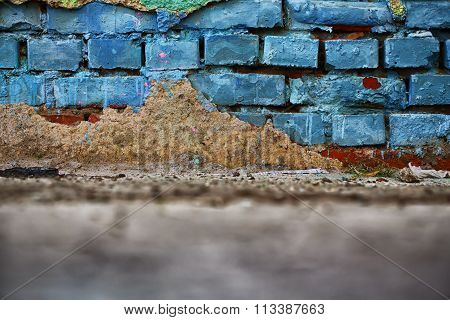 Old Muddy Brick Wall