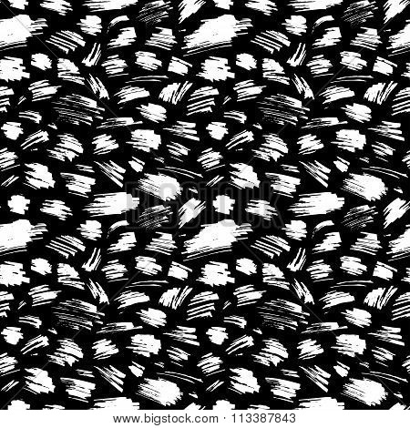 Vector Seamless Pattern Of Hand-drawn Chalk Strokes On Blackboard Background.