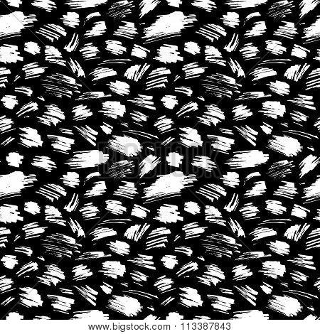 Vector Seamless Pattern Of Hand-drawn Chalk Strokes On Blackboard Background.