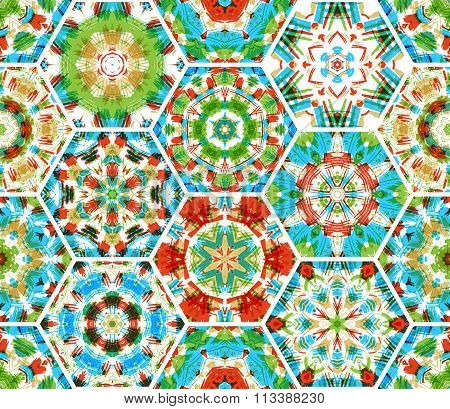 Seamless Embroidery Hexagons Pattern.
