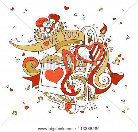 Vector I Love You Doodles Illustration.